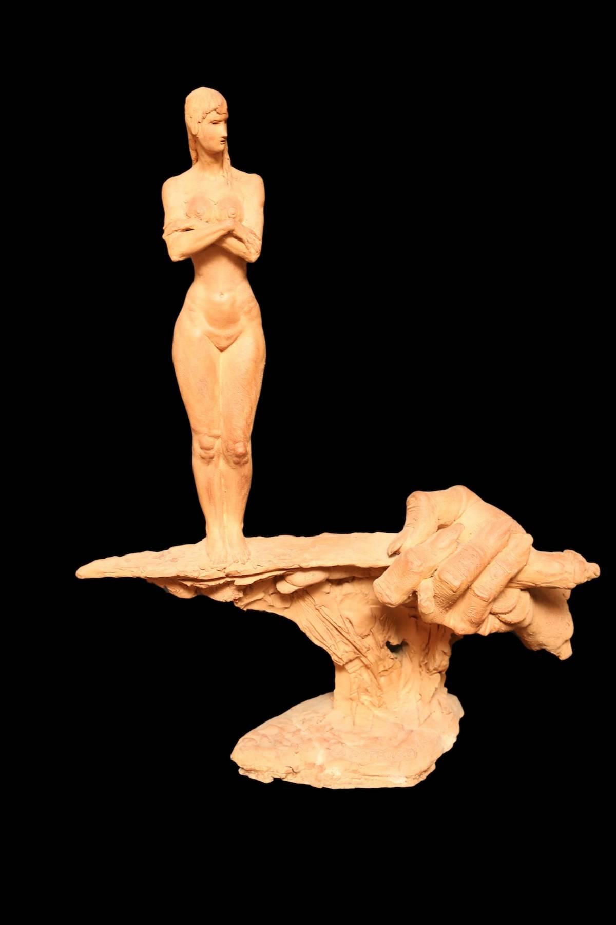 A.Falchi,'La Potenza', terracotta, 1983, cm 43x15x54h