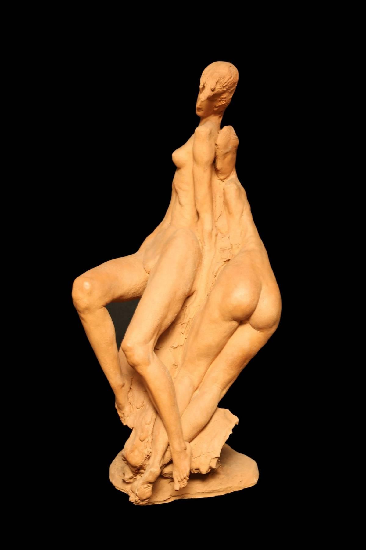 Aldo Falchi, 'Oltre l'amicizia', 1982, terracotta, cm 23x25x47,5h