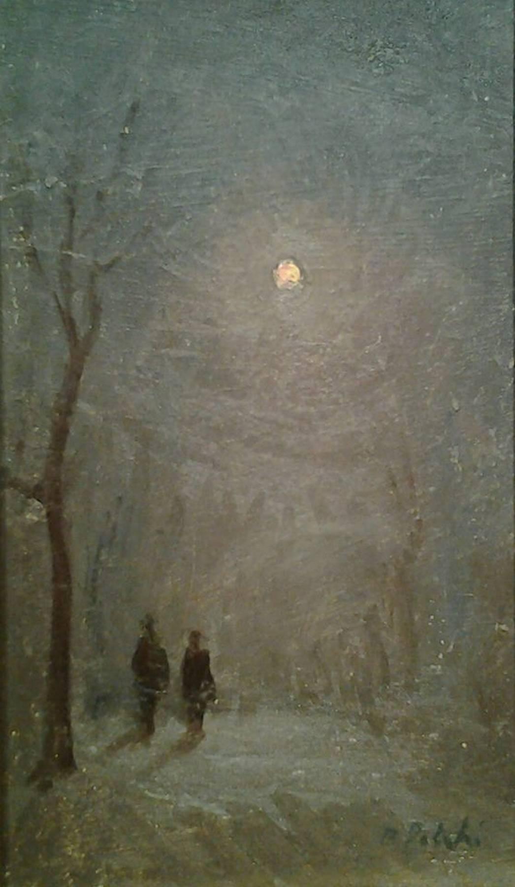 Luce lunare con nebbia e neve