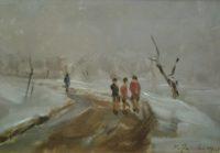 P.Falchi, 'Bambini sulla strada di Mezzana', 1941, cm 33hx44