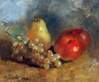 P.Falchi, Natura morta con uva e mele', 1989, olio su masonite, cm 23,6hx28
