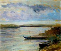 P.Falchi,Barche sul Po, 1958, olio su tavola cm 41x51