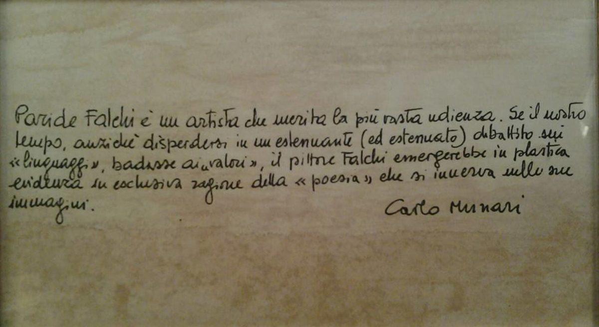 Pensiero del critico Carlo Munari vitindo una mostra di Paride