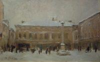'Piazza ducale a Sabbioneta sotto la neve'