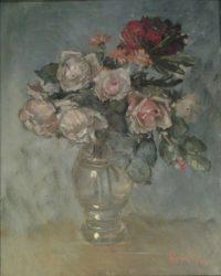 'Rose in vaso trasparente'