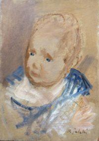 Bimbo in blu, olio, anni'50, cm 23x32h