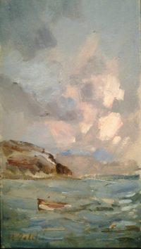 Mare di Portovenere, anni'70, olio su cartone, cm 22x39h