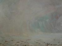 Neve e nebbia, olio, 1975, cm 23,5 x17,5